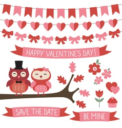 Owls in love set vector