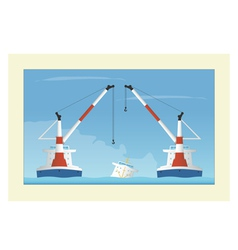 Two floating cranes and sunken vessel salvage vector