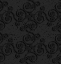 Black textured plastic diagonal spiral flourish vector