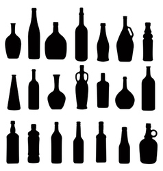 Many different bottles silhouette vector