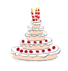 cake with candles vector image