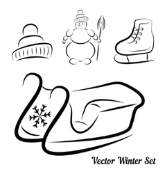 Calligraphic winter drawings vector