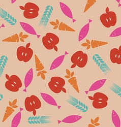 Abstract food icons seamless pattern vector