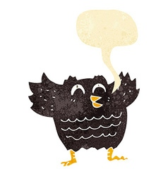 Cartoon black bird with speech bubble vector