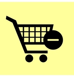 Shopping cart with remove icon vector
