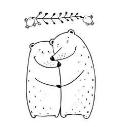 Bears love couple embrace outline vector