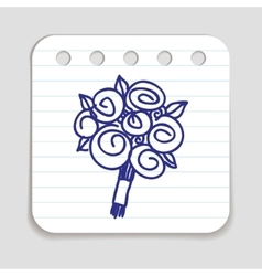 Doodle flower bouquet icon vector