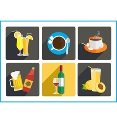 Beverages flat icons set vector