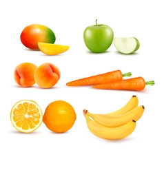 Big group of different fruit and vegetables vector image
