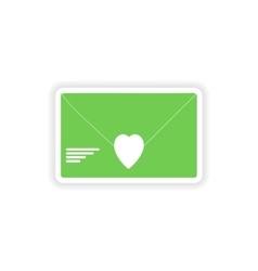 Paper sticker on white background love letter vector