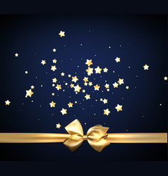 Blue festive background with golden bow vector