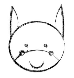 Blurred silhouette caricature cute face donkey vector