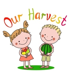 Boy and girl holding fruit in their hands vector image vector image
