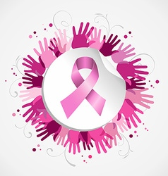 Breast cancer awareness ribbon hand social badge vector image vector image