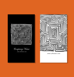business cards design labyrinth square vector image vector image
