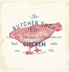 Butcher shop vintage emblem chiken meat products vector