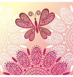 Butterfly and flowers vector image vector image