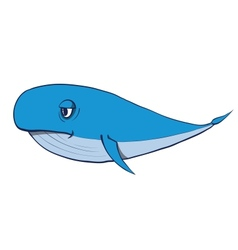 Cartoon funny whale hand drawn vector image