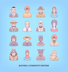 cartoon people icons nation race ethnicity vector image vector image
