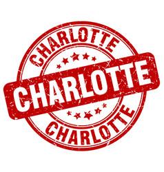 Charlotte red grunge round vintage rubber stamp vector