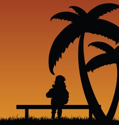 Child relax in nature vector