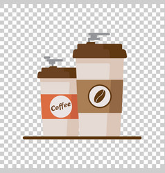 Coffee cup with coffee beans on isolated vector