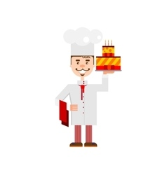 Confectioner with cake vector image vector image