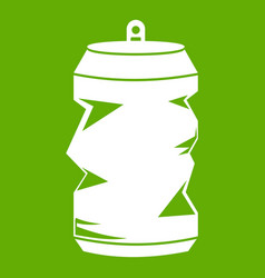crumpled aluminum cans icon green vector image vector image