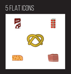 Flat icon meal set of cheddar slice cookie vector