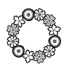 flower wreath floral leaves style decorative vector image
