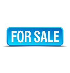 For sale blue 3d realistic square isolated button vector