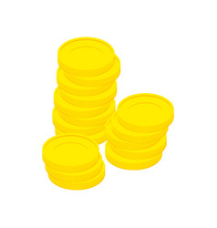 Gold coins isolated stack of money on white vector