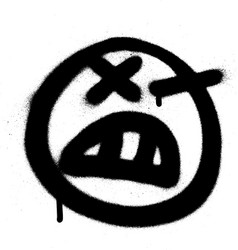 Graffiti angry emoji sprayed in black on white vector