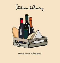 Hand drawn vintage set of cheese and wine vector