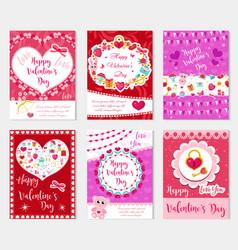 Happy valentine s day set poster invitation vector