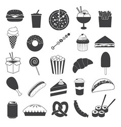 Junk Food Icons Collection vector image