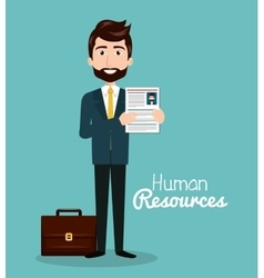 Man character with portfolio and curriculum human vector