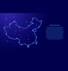 map china from the contours network blue luminous vector image