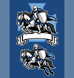 Middle age knight warrior riding horse mascot vector