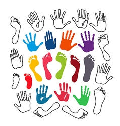 Outlined colored generation hand and foot prints vector