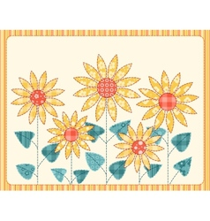 Patchwork sunflowers card vector image