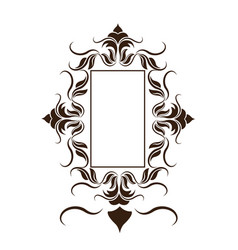 Rustic frame floral decoration crest vector