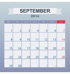 September 2014-planning calendar vector image vector image