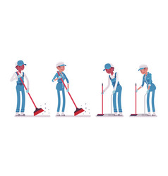 Set of male and female janitor sweeping the floor vector
