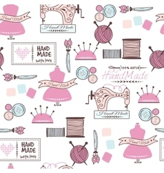 Sewing and needlework doodle seamless vector image vector image