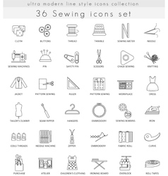 Sewing ultra modern outline line icons for vector image vector image