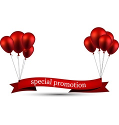 Special promotion red ribbon background with vector