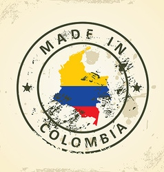 Stamp with map flag of Colombia vector image vector image
