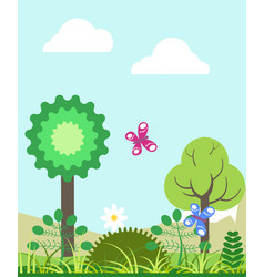 summer landscape with green trees and colorful vector image vector image