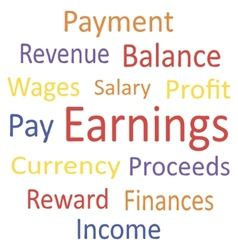 Tag cloud earnings with synonyms vector